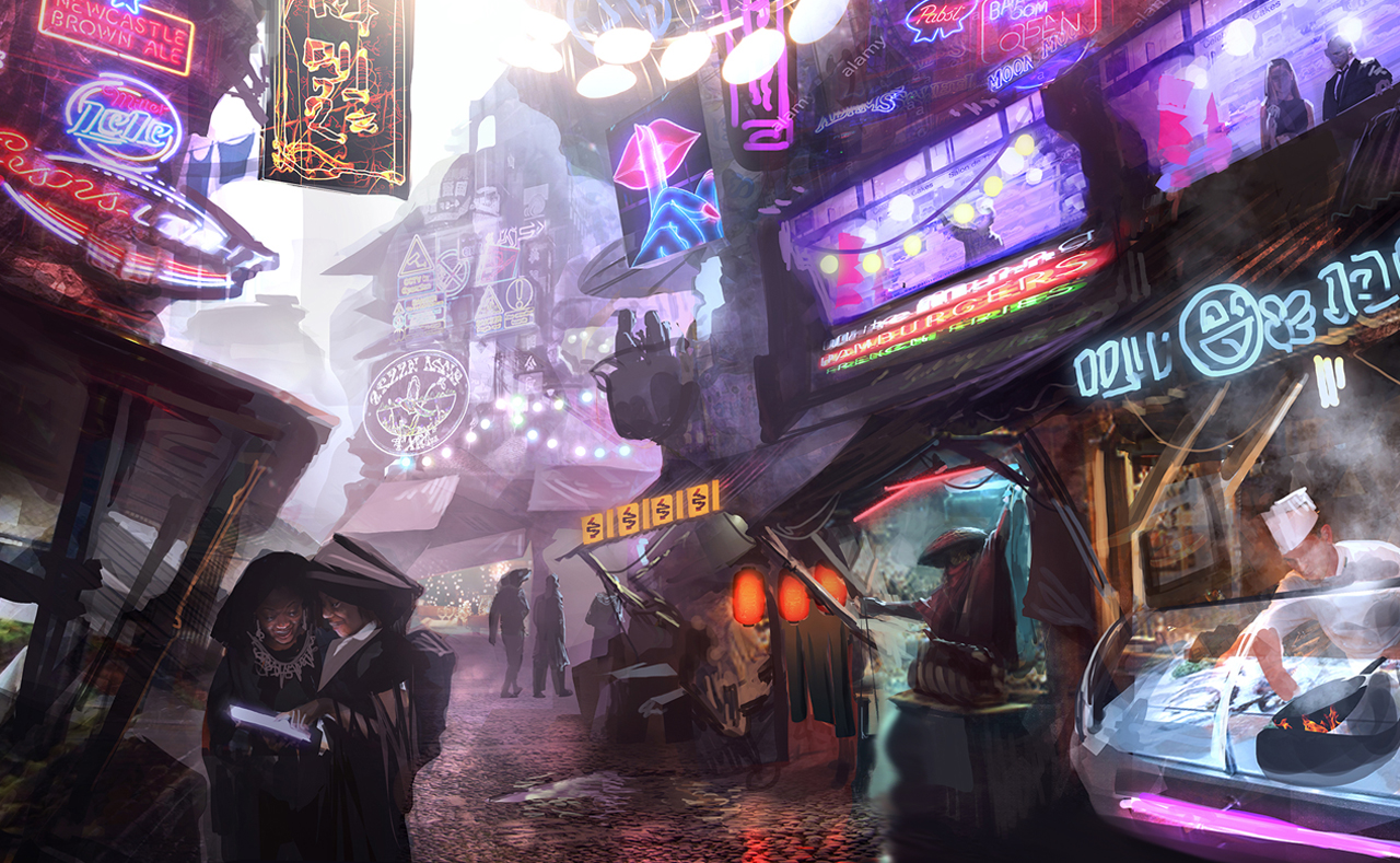 Busy futuristic city resembling Blade Runner